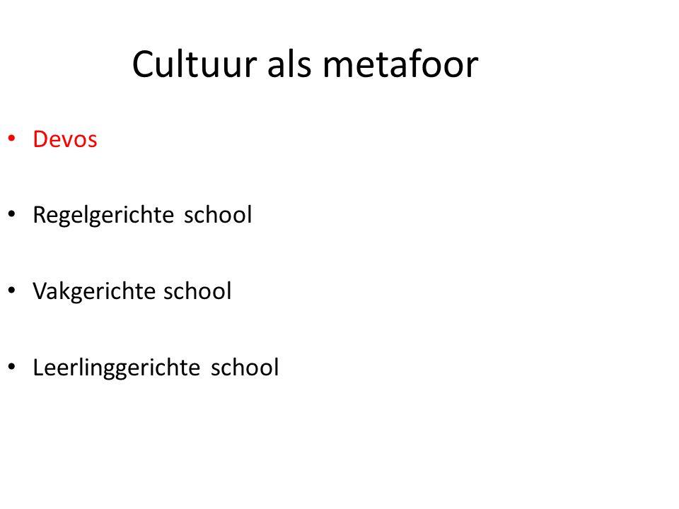 Cultuur als metafoor Devos Regelgerichte school Vakgerichte school