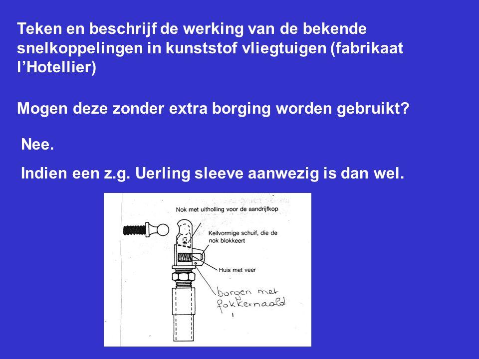 Teken en beschrijf de werking van de bekende snelkoppelingen in kunststof vliegtuigen (fabrikaat l'Hotellier)