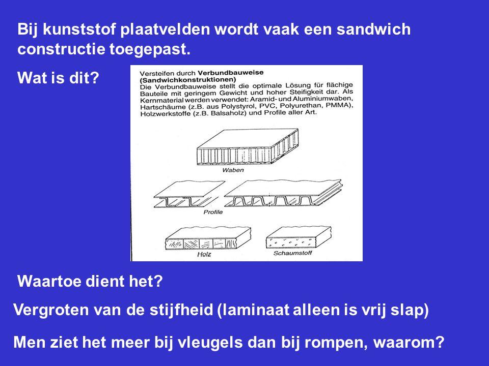 Bij kunststof plaatvelden wordt vaak een sandwich constructie toegepast.