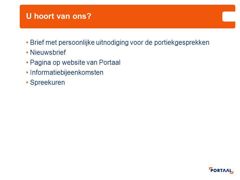 U hoort van ons Brief met persoonlijke uitnodiging voor de portiekgesprekken. Nieuwsbrief. Pagina op website van Portaal.