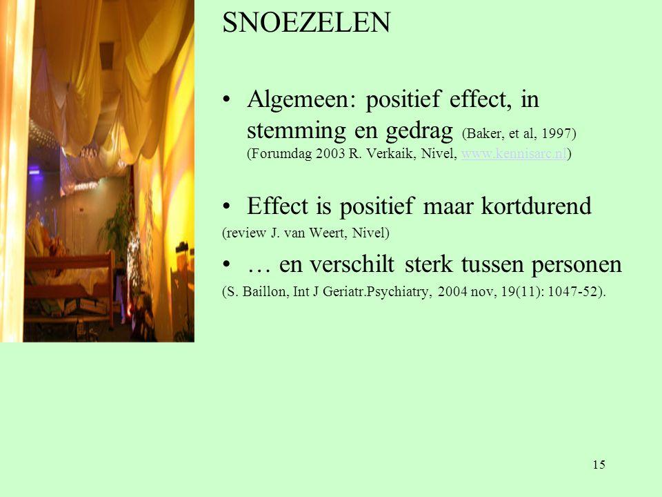 SNOEZELEN Algemeen: positief effect, in stemming en gedrag (Baker, et al, 1997) (Forumdag 2003 R. Verkaik, Nivel, www.kennisarc.nl)