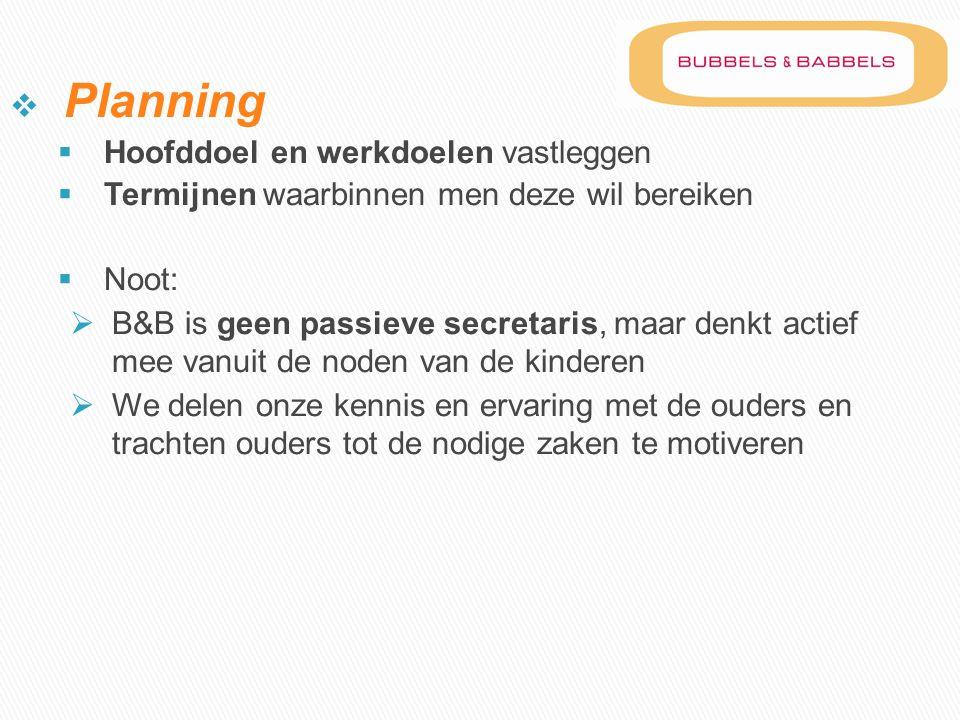 Planning Hoofddoel en werkdoelen vastleggen