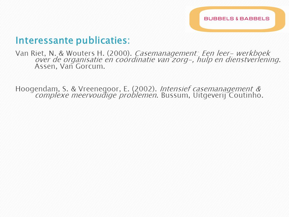 Interessante publicaties: