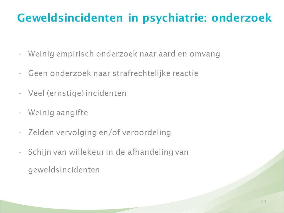 Geweldsincidenten in psychiatrie: onderzoek