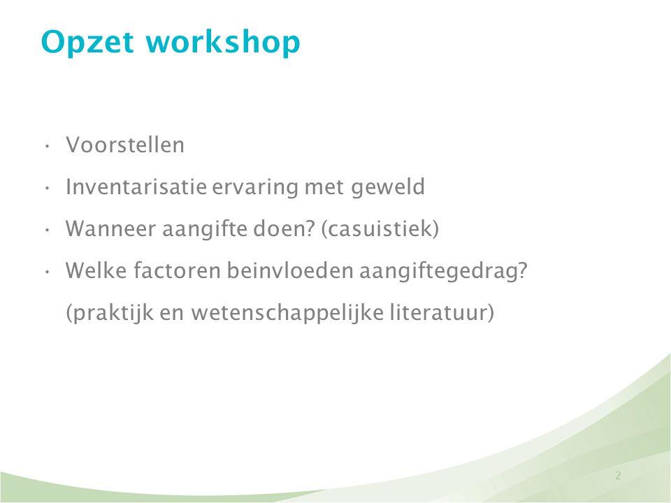 Opzet workshop Voorstellen Inventarisatie ervaring met geweld