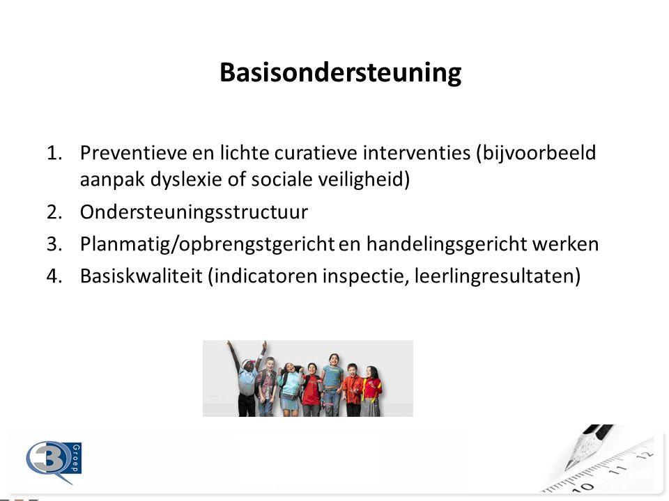 Basisondersteuning Preventieve en lichte curatieve interventies (bijvoorbeeld aanpak dyslexie of sociale veiligheid)