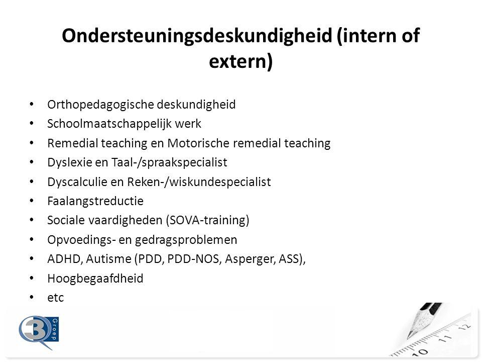 Ondersteuningsdeskundigheid (intern of extern)