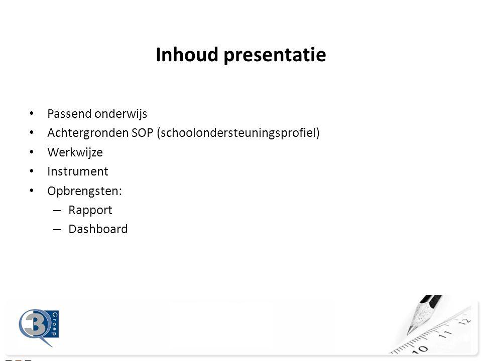 Inhoud presentatie Passend onderwijs