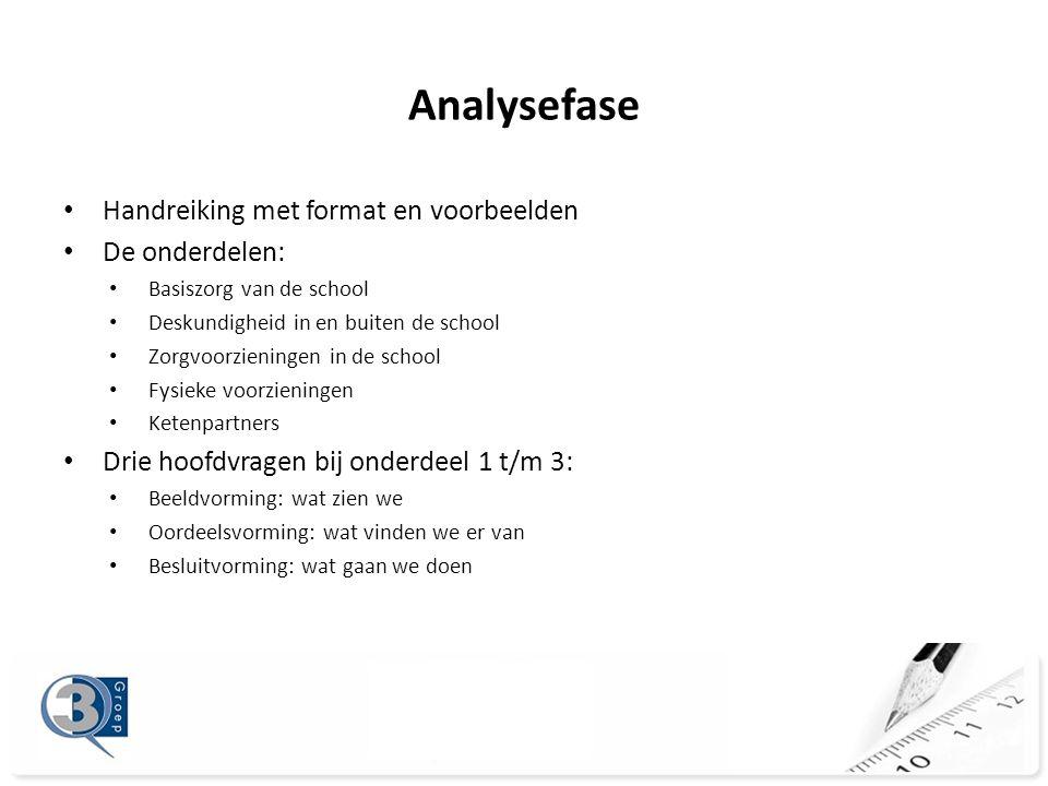 Analysefase Handreiking met format en voorbeelden De onderdelen: