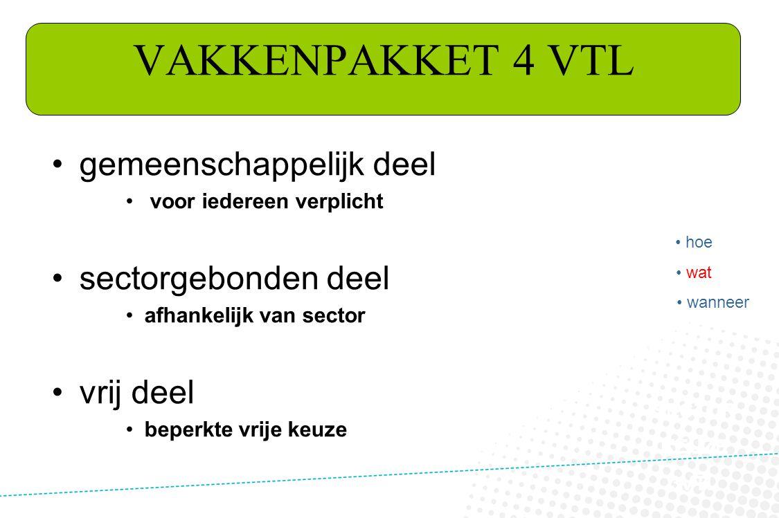 VAKKENPAKKET 4 VTL gemeenschappelijk deel sectorgebonden deel