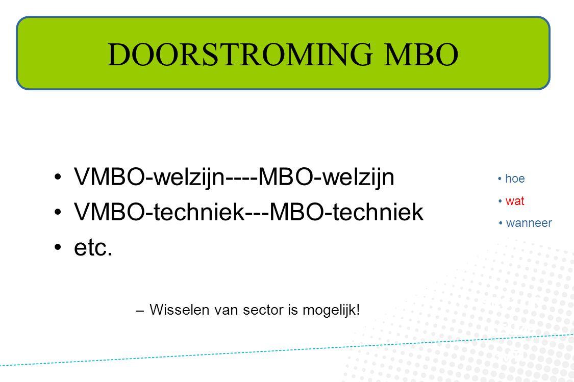 DOORSTROMING MBO VMBO-welzijn----MBO-welzijn