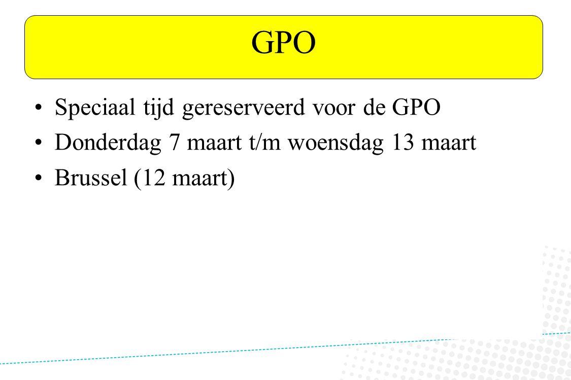 VTL ANDERS GPO Speciaal tijd gereserveerd voor de GPO