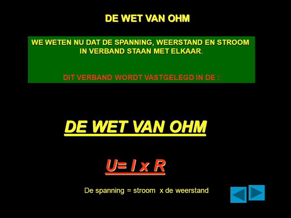 DE WET VAN OHM U= I x R DE WET VAN OHM