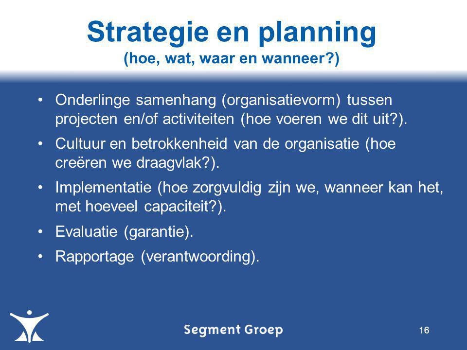 Strategie en planning (hoe, wat, waar en wanneer )