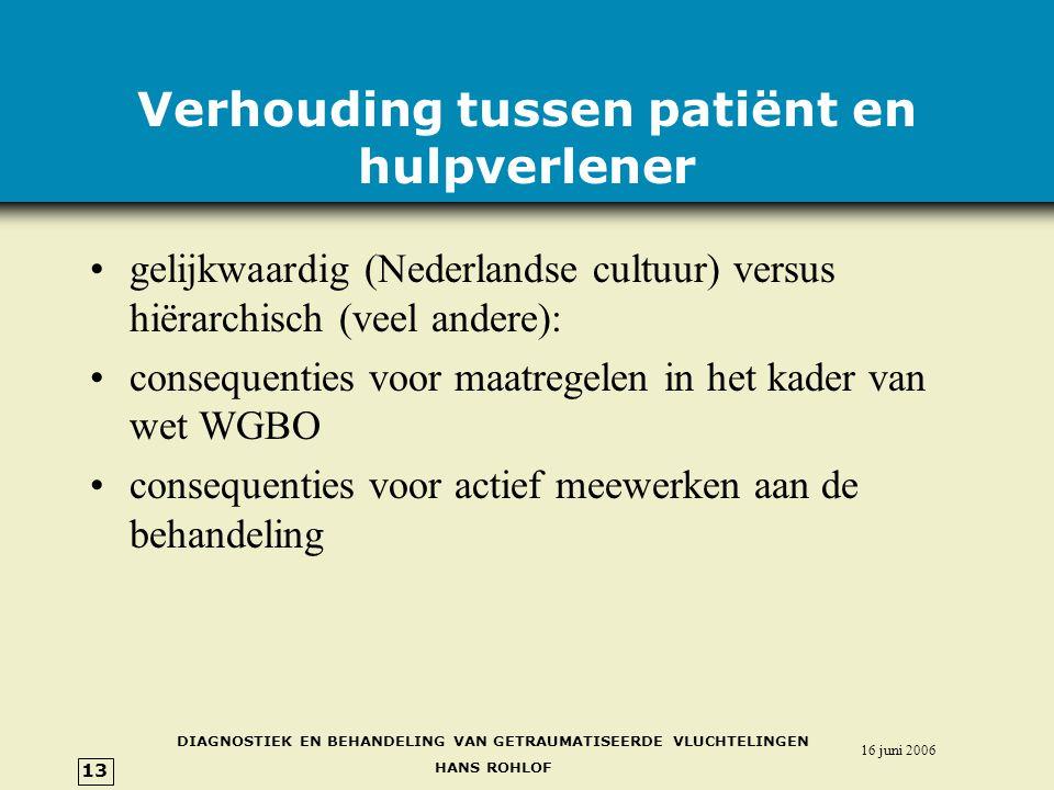 Verhouding tussen patiënt en hulpverlener
