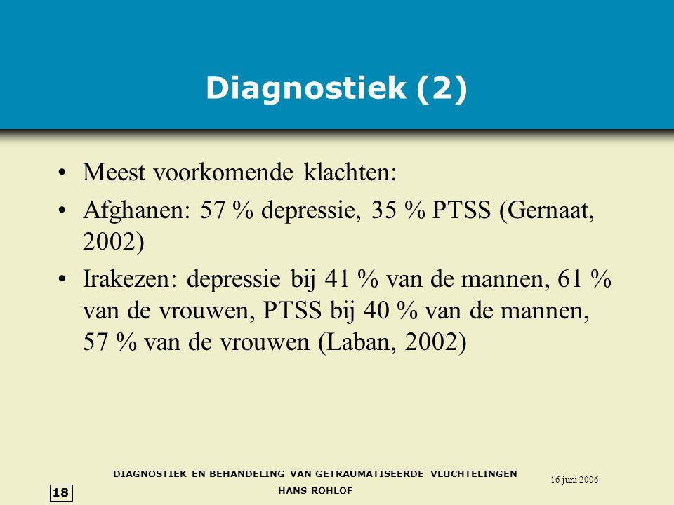 Diagnostiek (2) Meest voorkomende klachten: