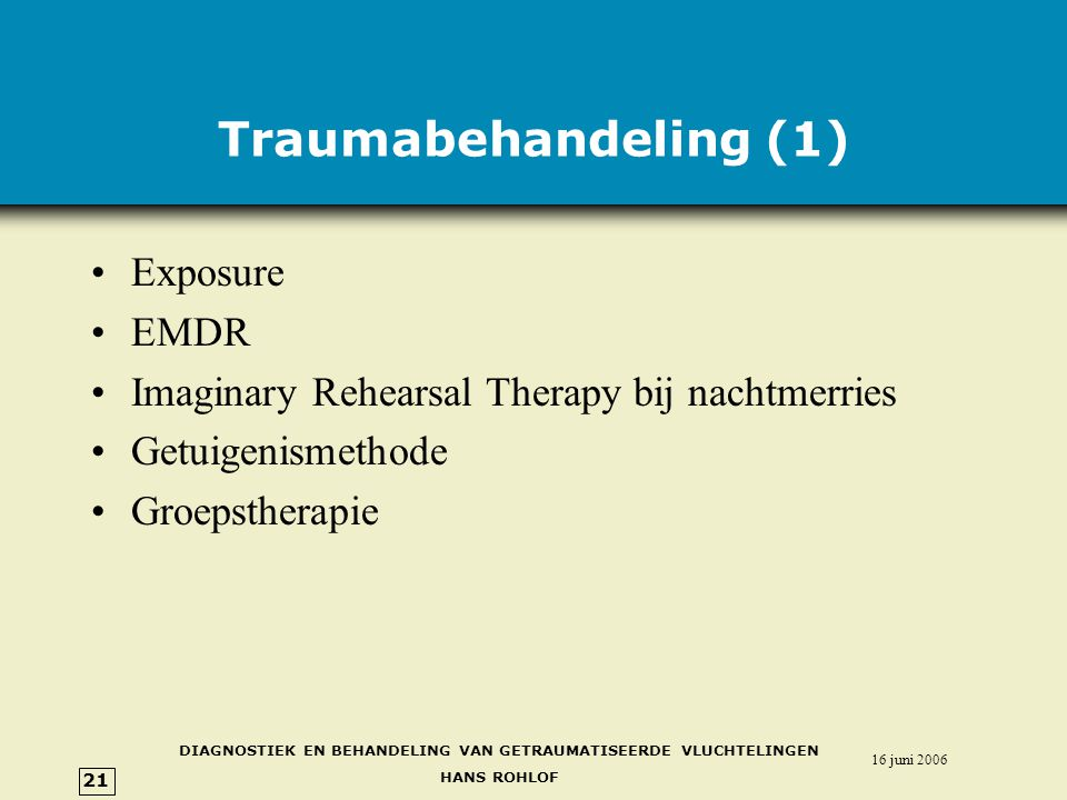 Traumabehandeling (1) Exposure EMDR