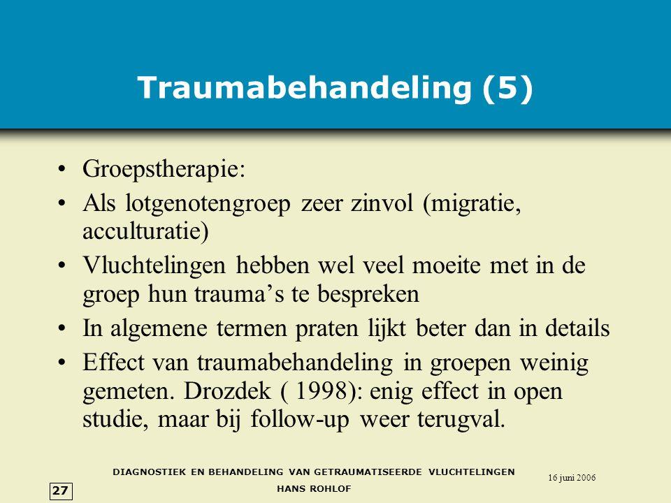 Traumabehandeling (5) Groepstherapie: