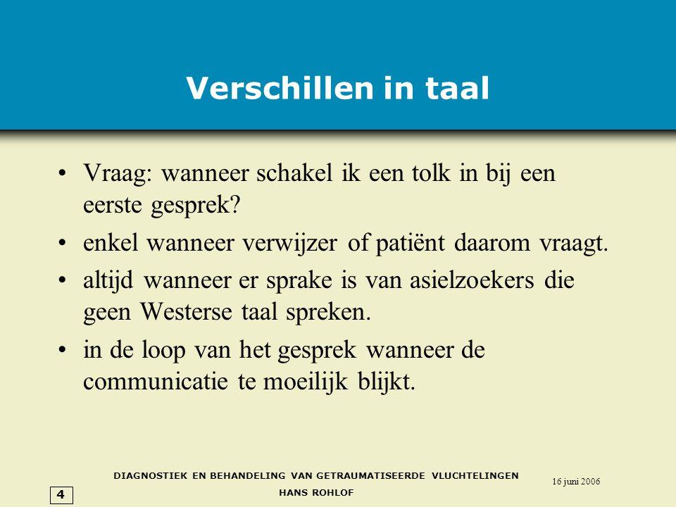Verschillen in taal Vraag: wanneer schakel ik een tolk in bij een eerste gesprek enkel wanneer verwijzer of patiënt daarom vraagt.