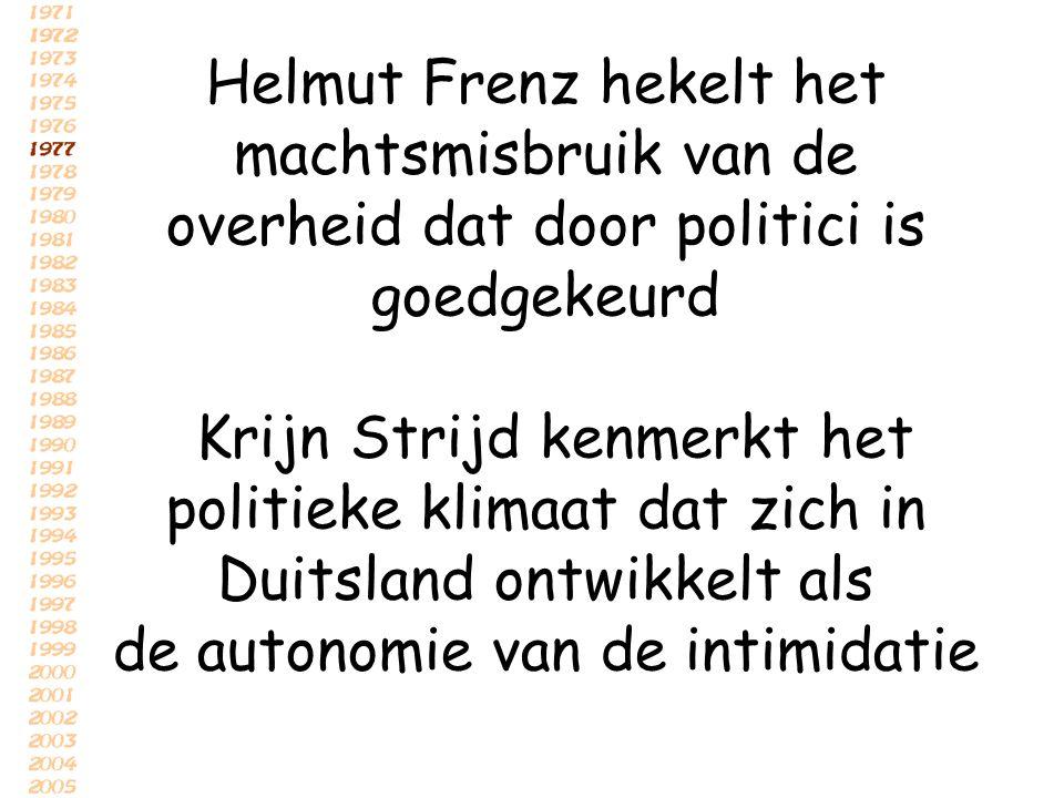 Helmut Frenz hekelt het machtsmisbruik van de overheid dat door politici is goedgekeurd Krijn Strijd kenmerkt het politieke klimaat dat zich in Duitsland ontwikkelt als de autonomie van de intimidatie