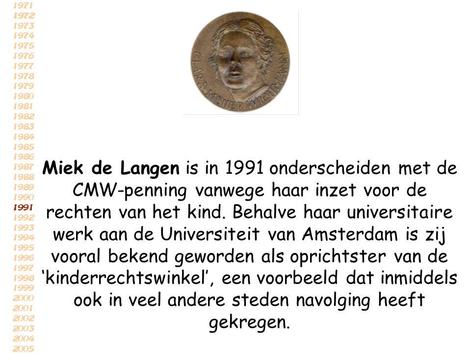 Miek de Langen is in 1991 onderscheiden met de CMW-penning vanwege haar inzet voor de rechten van het kind.