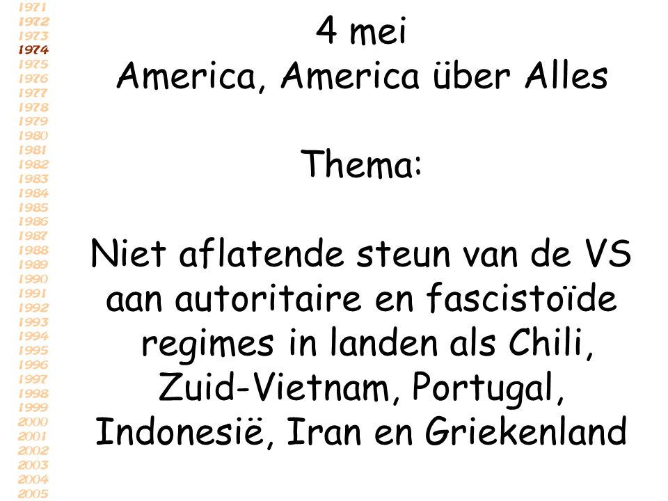 America, America über Alles Thema: Niet aflatende steun van de VS