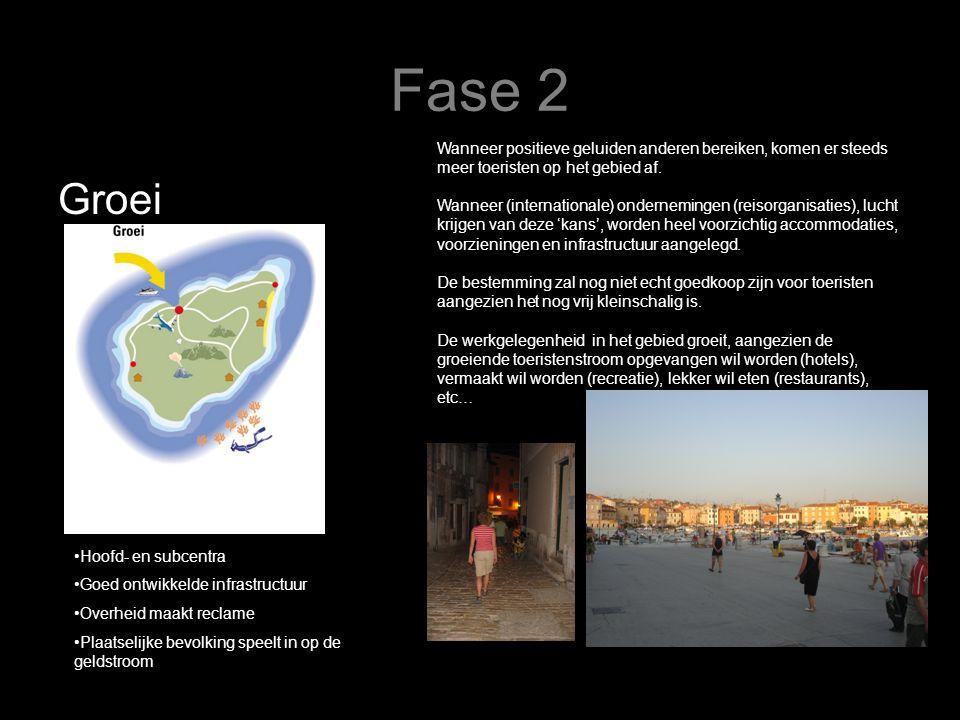 Fase 2 Wanneer positieve geluiden anderen bereiken, komen er steeds meer toeristen op het gebied af.