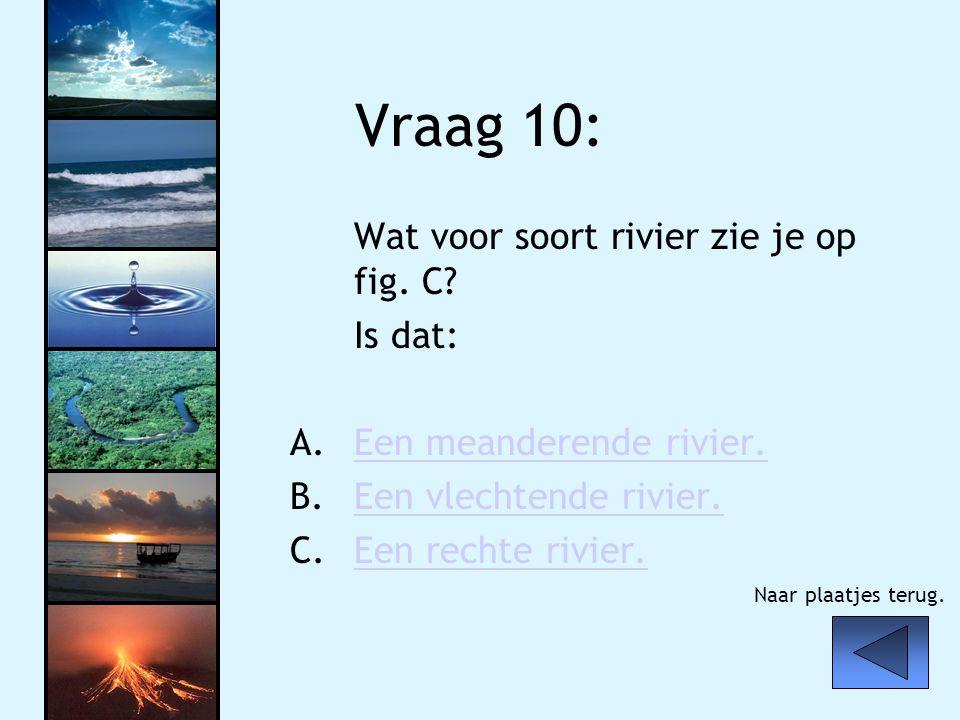 Vraag 10: Wat voor soort rivier zie je op fig. C Is dat: