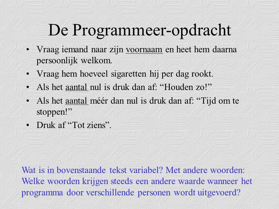 De Programmeer-opdracht