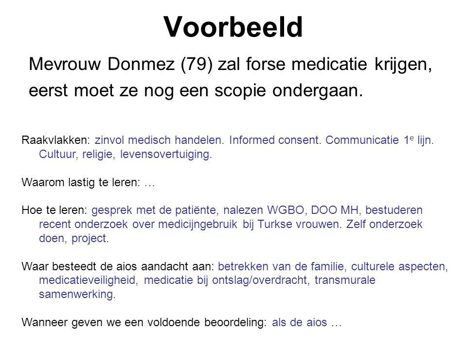 Voorbeeld Mevrouw Donmez (79) zal forse medicatie krijgen,