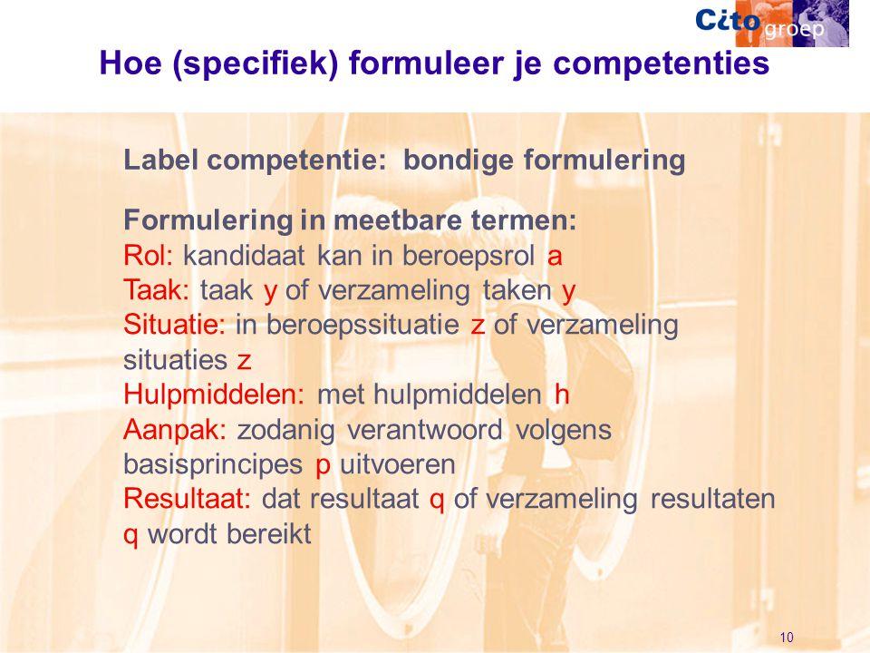 Hoe (specifiek) formuleer je competenties