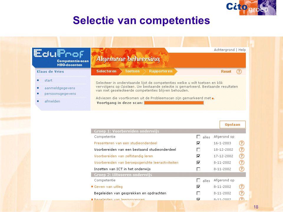Selectie van competenties