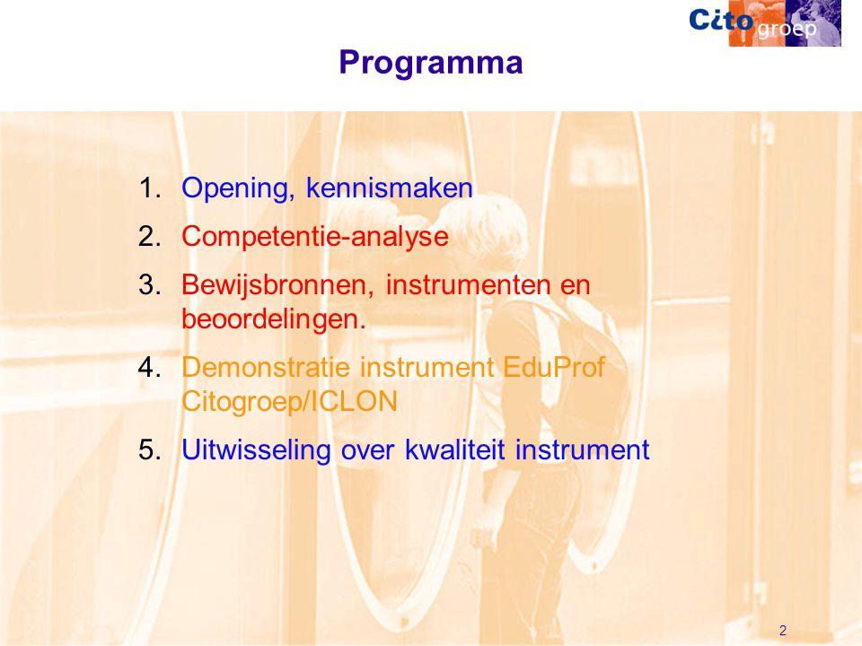 Programma Opening, kennismaken Competentie-analyse