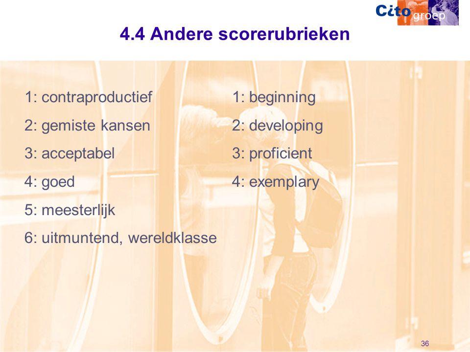 4.4 Andere scorerubrieken