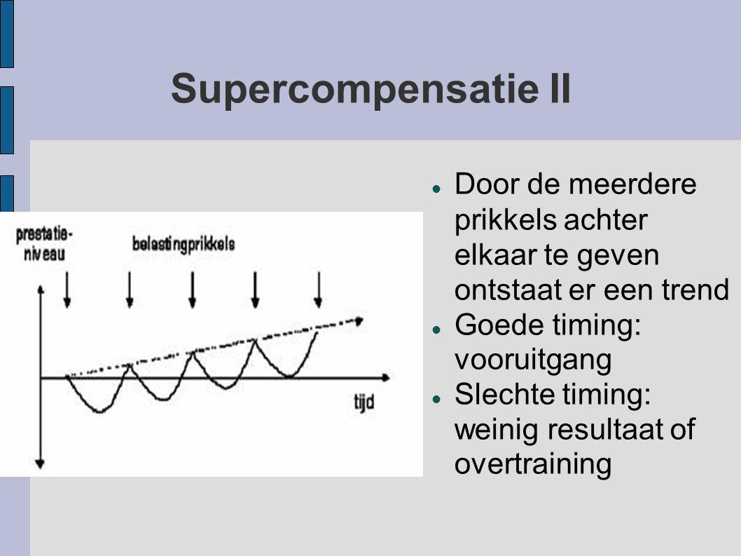 Supercompensatie II Door de meerdere prikkels achter elkaar te geven ontstaat er een trend. Goede timing: vooruitgang.
