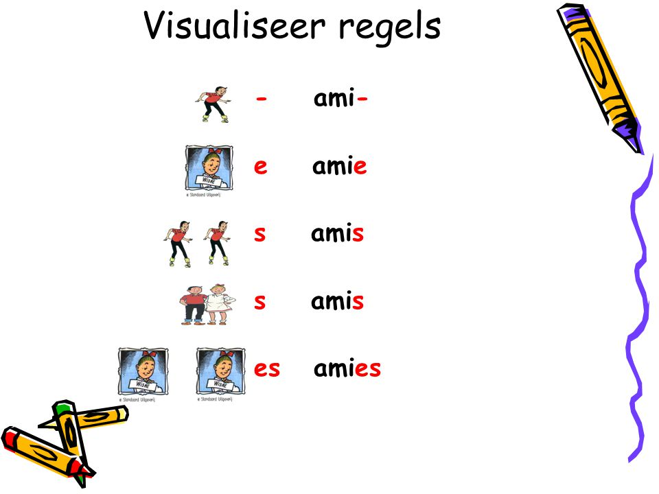 Visualiseer regels - ami- e amie s amis es amies