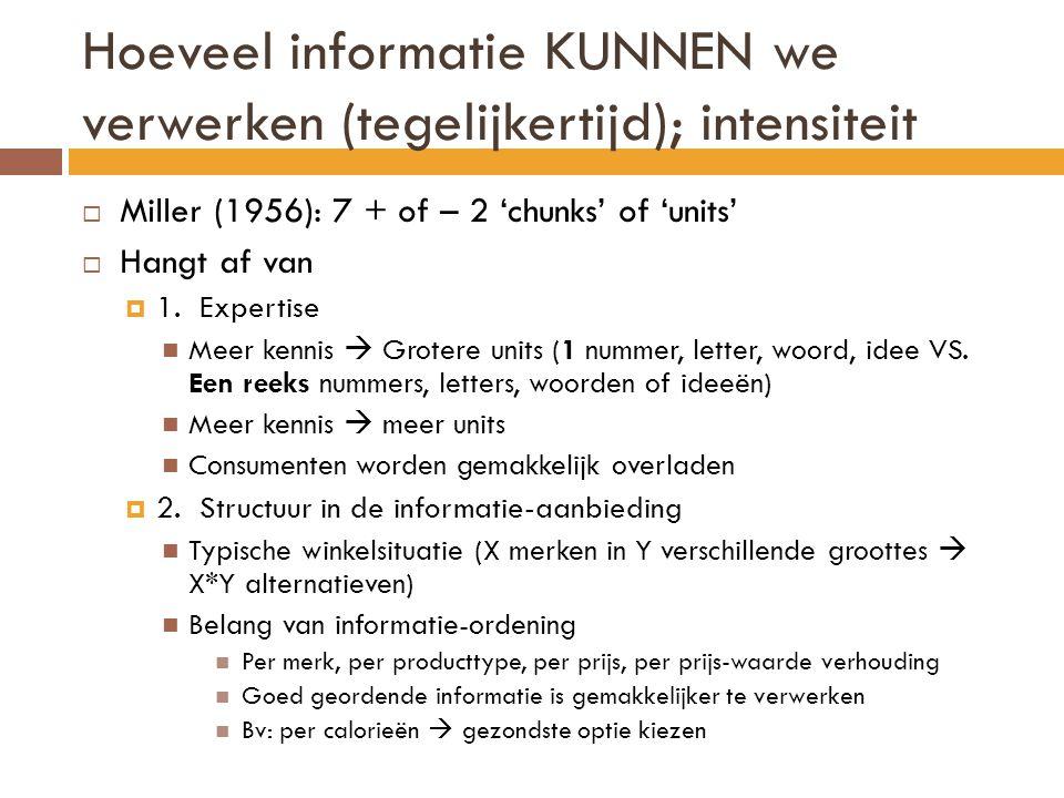 Hoeveel informatie KUNNEN we verwerken (tegelijkertijd); intensiteit