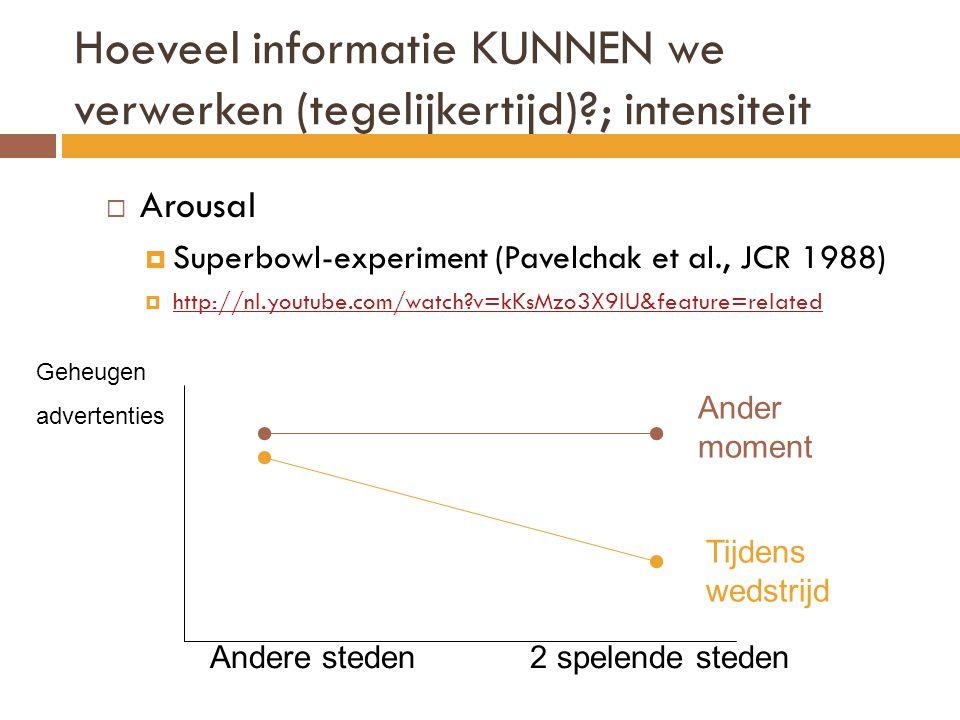 Hoeveel informatie KUNNEN we verwerken (tegelijkertijd) ; intensiteit
