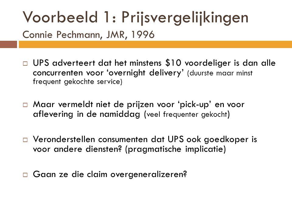 Voorbeeld 1: Prijsvergelijkingen Connie Pechmann, JMR, 1996