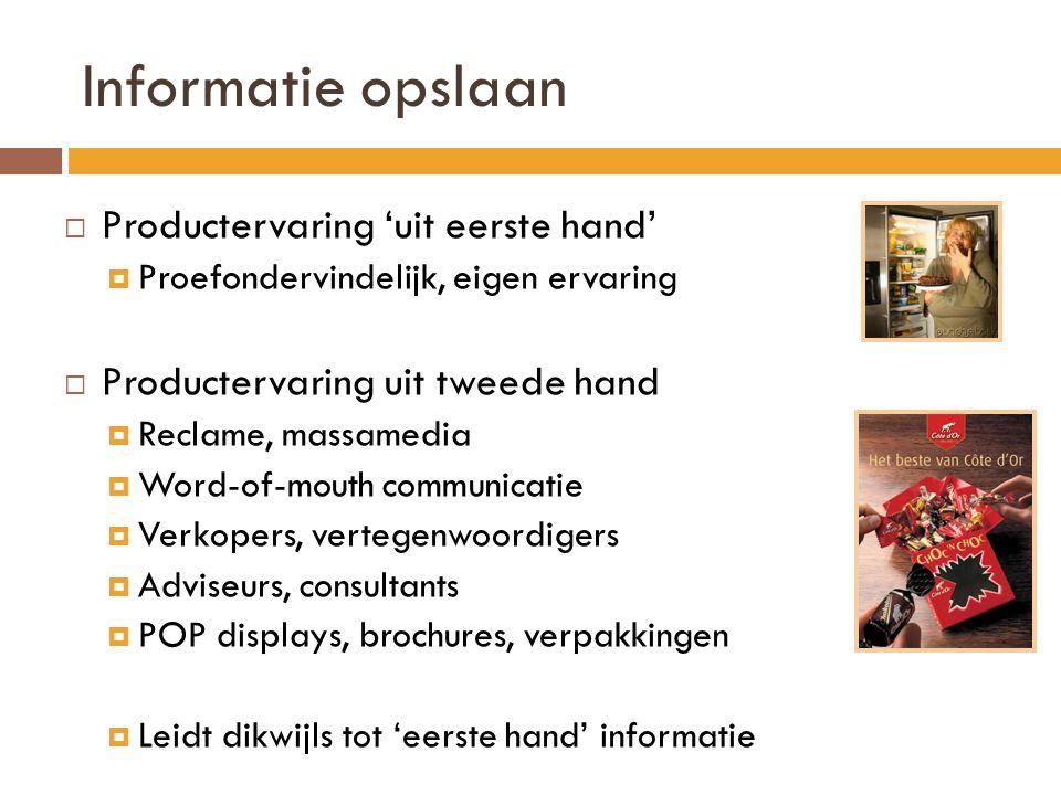 Informatie opslaan Productervaring 'uit eerste hand'