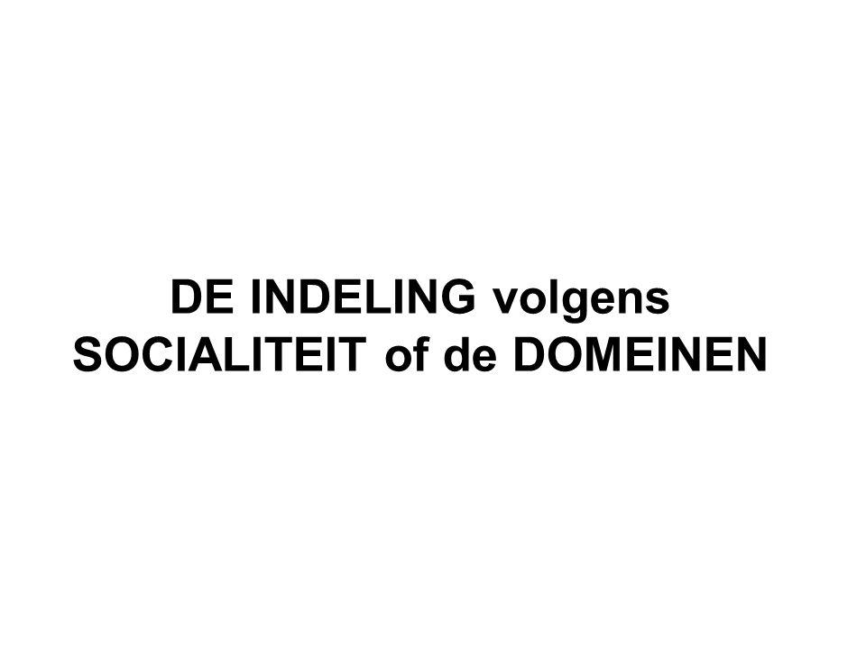 DE INDELING volgens SOCIALITEIT of de DOMEINEN