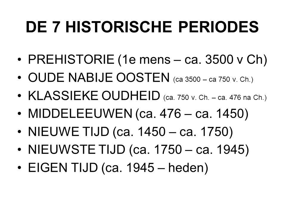 DE 7 HISTORISCHE PERIODES