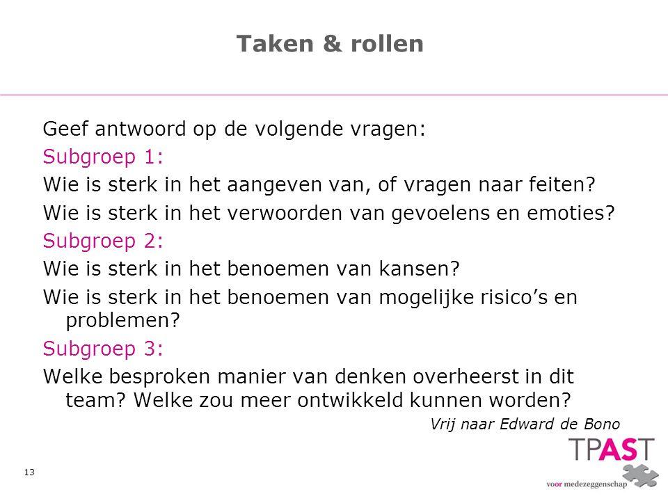 Taken & rollen Geef antwoord op de volgende vragen: Subgroep 1:
