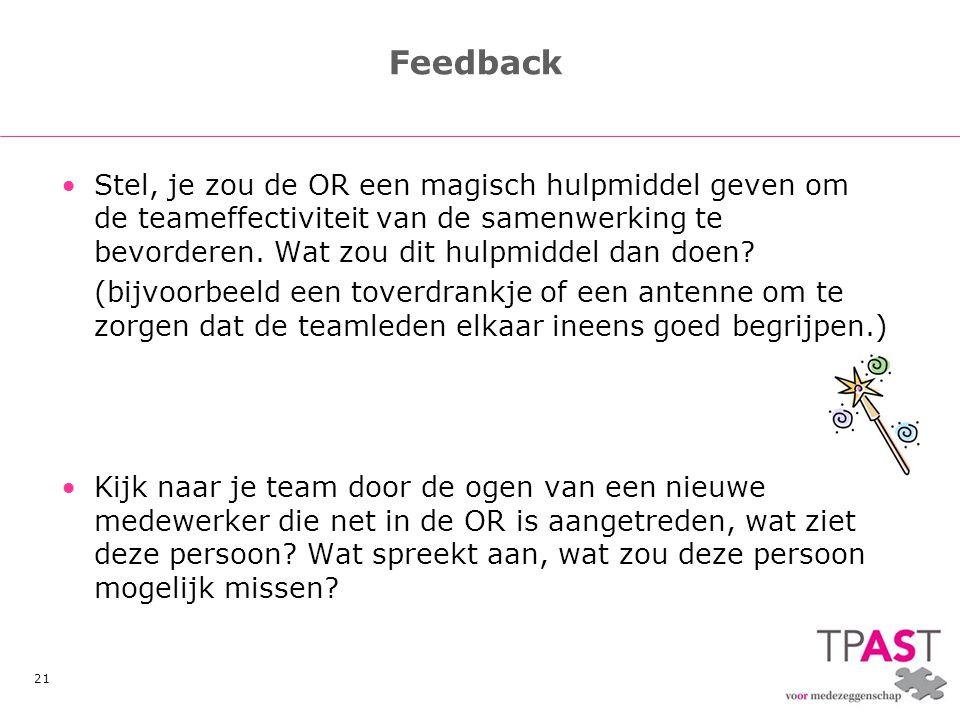 Feedback Stel, je zou de OR een magisch hulpmiddel geven om de teameffectiviteit van de samenwerking te bevorderen. Wat zou dit hulpmiddel dan doen