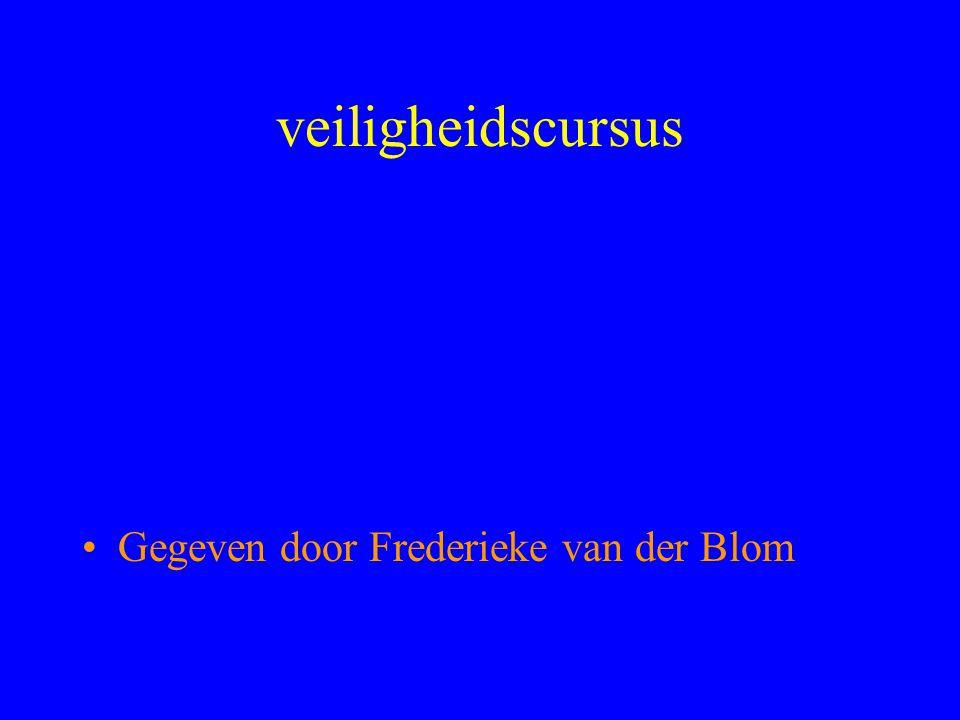 veiligheidscursus Gegeven door Frederieke van der Blom