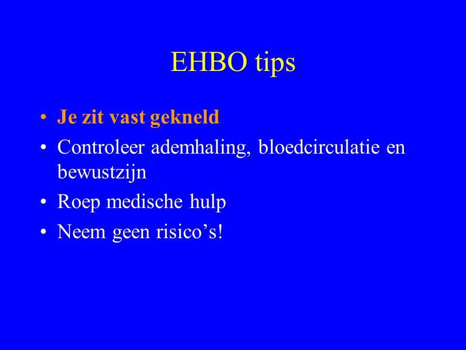 EHBO tips Je zit vast gekneld