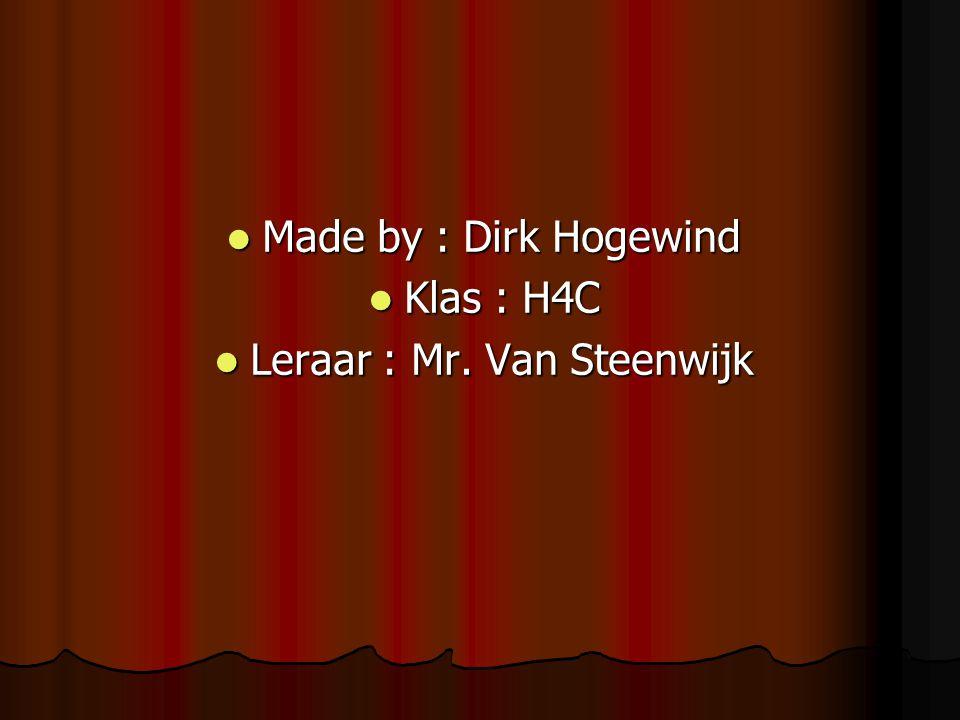 Leraar : Mr. Van Steenwijk
