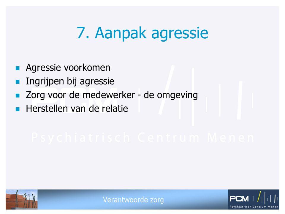 7. Aanpak agressie Agressie voorkomen Ingrijpen bij agressie