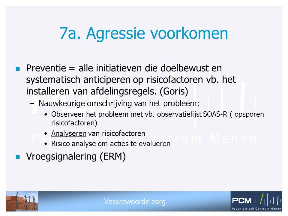 7a. Agressie voorkomen