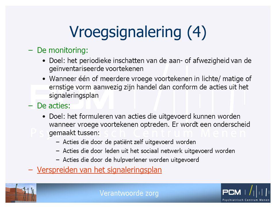 Vroegsignalering (4) De monitoring: De acties: